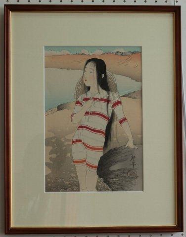 美人の海水浴〜明治の女 風俗三十二相/寺崎広業 (復刻木版画)