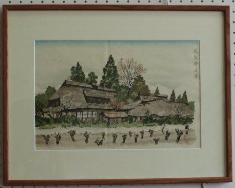 武蔵野早春 (東京) /向井潤吉 (木版画)