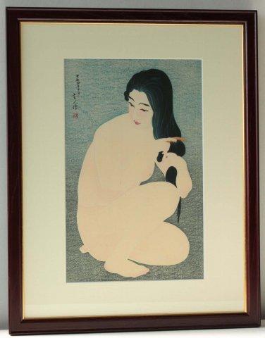 髪梳き/鳥居言人 (復刻木版画)