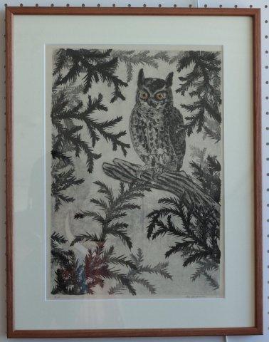 梟/青山正治 (木版画)