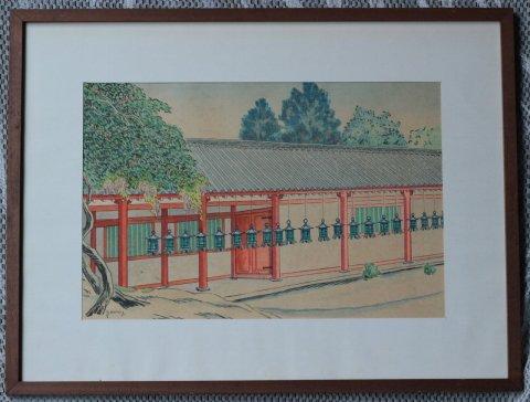 奈良春日大社回廊/山下新太郎 (木版画)