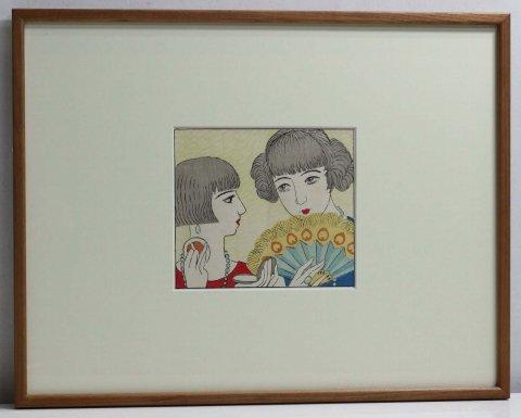 夜会まの女 婦人グラフ口絵昭和2年5月/榎本千花俊 (木版画)