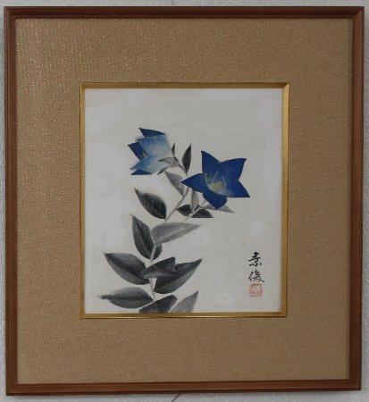 桔梗/鬼原素俊 (日本画・色紙額)