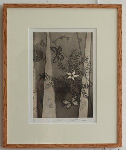 白い花と蝶/渡辺達正 (銅版画)