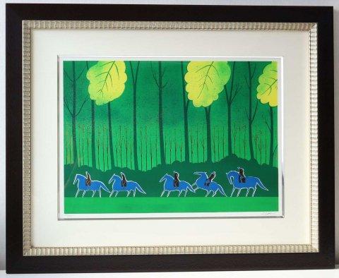 ブルーの五頭の馬/セルジュ・ラシス(リトグラフ版画)