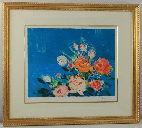 海辺のオレンジのバラ/ジル・ゴリチ(リトグラフ版画)