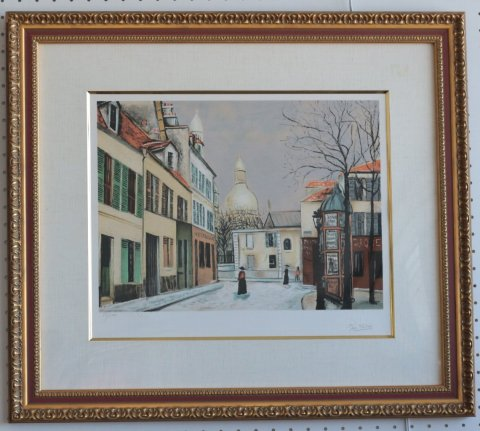 テルトル広場とサクレ・クール寺院/モーリス・ユトリロ (リトグラフ版画エスタンプ)