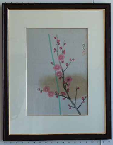 紅梅/三輪晁勢(木版画)