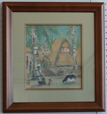 ジャワバリ島デンパッサル村/三輪晁勢 (水彩色紙額)
