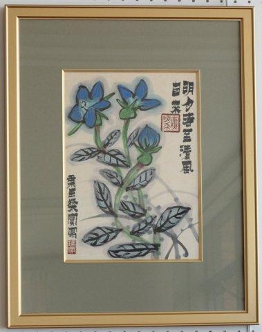 桔梗図 /粛粲宝 (日本画・4号色紙)