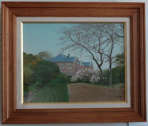 桜の咲く丘(工芸館) F6/中山爾郎 (油彩)