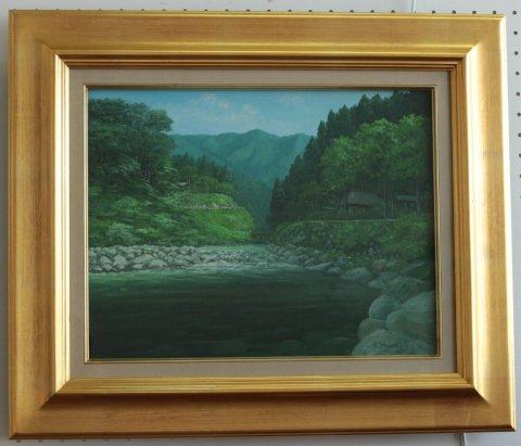 夏の川 F6/村山孝夫 (油彩)