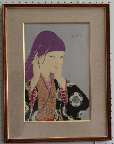 御高祖頭巾/蕗谷虹児 (木版画)