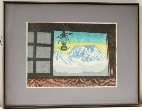明けゆく北アルプス山頂/泉田康治 (木版画)