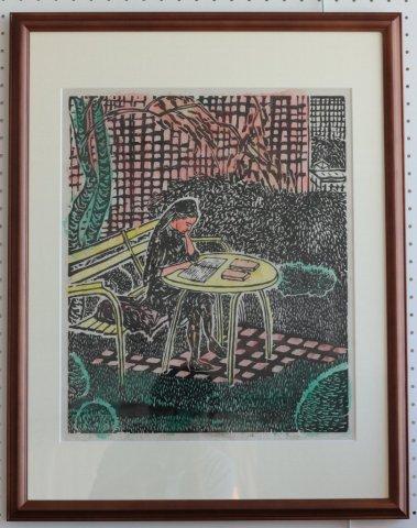 St.Michaelの庭にて/akira fisher(木版画)