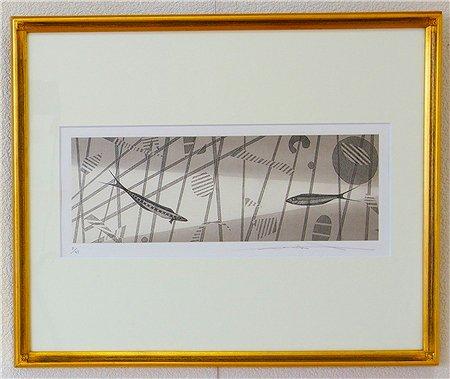 音と魚�/渡辺達正 (銅版画)
