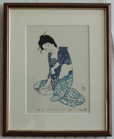 爪をきる女〜港屋版/竹久夢二 (木版画)