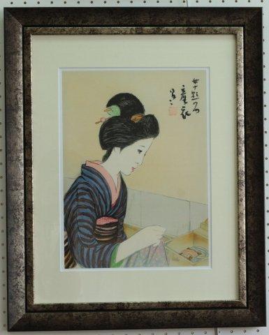 産衣〜女十題/竹久夢二 (リトグラフ版画)
