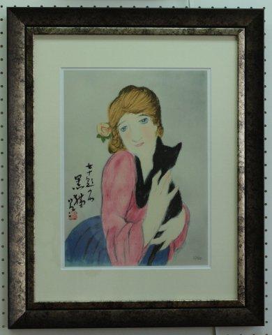 黒猫 〜女十題/竹久夢二  (リトグラフ版画)