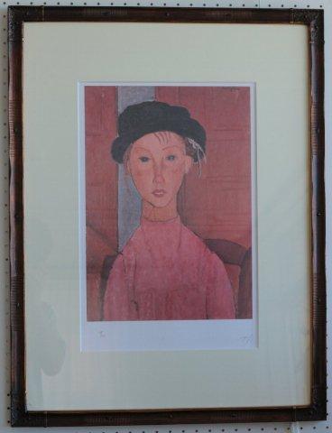 ベレー帽の少女/アメディオ・モディリアーニ (リトグラフ版画エスタンプ)