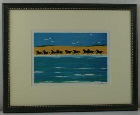 渚を走る九頭の馬/セルジュ・ラシス (リトグラフ版画)