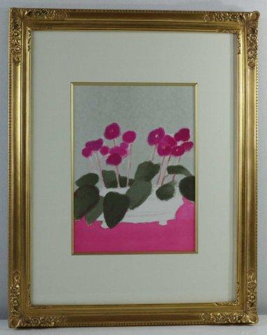 バラ色のテーブルクロスとセントポーリア/ベルナール・カトラン (リトグラフ版画)