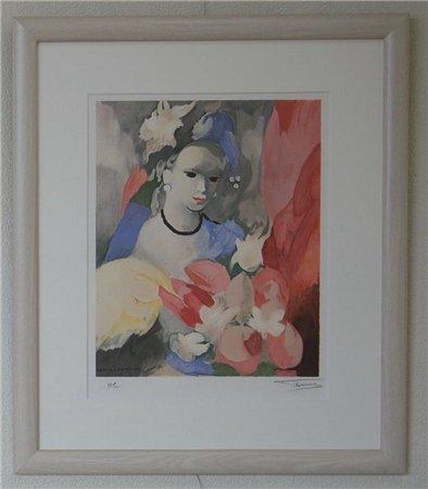 花束を持つ娘/マリー・ローランサン (リトグラフ版画)