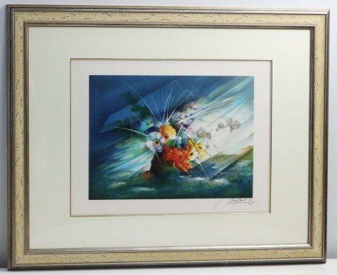 野の中の花/レイモン・プーレ (リトグラフ版画)