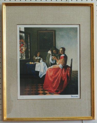 ワイングラスを持つ男女/ヨハネス・フェルメール  (シルクスクリーン版画)