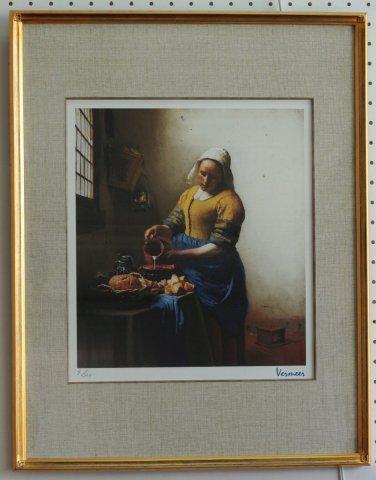 ミルクをつぐ女/ヨハネス・フェルメール (シルクスクリーン版画)