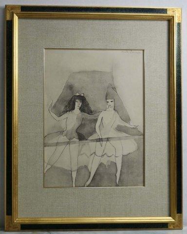 レッスン(仮題)〜舞踏のための対話/マリー・ローランサン (リトグラフ版画)