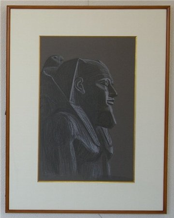 カ・フ・ラー王像 第4王朝 - [カイロ博物館] /杉山寧 (オフセット版画)