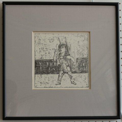 ガラス屋さん〜小さな職人/藤田嗣治 (復刻木版画)