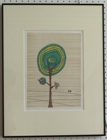 鳥と帽子と木/南桂子(銅版画)