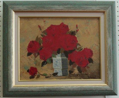 赤いバラ  F6号 /駒井敬三郎 (油彩)
