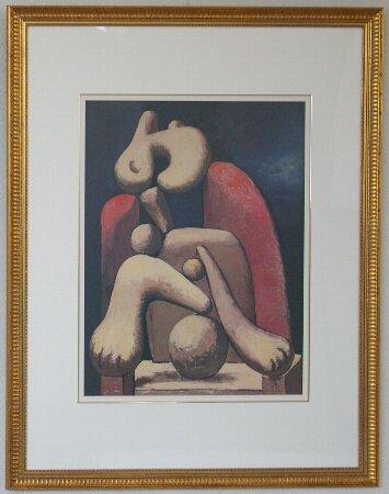 赤い椅子に座る女/パブロ・ピカソ  (リトグラフ版画)
