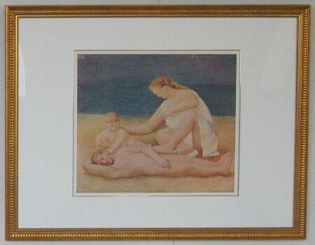 海辺の家族/パブロ・ピカソ (リトグフ版画)