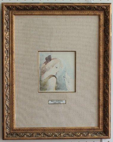 鳩の夫婦 本のための刷り /マリー・ローランサン (銅版画)