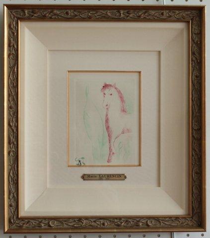牝馬 本のための刷り/マリー・ローランサン (銅版画)