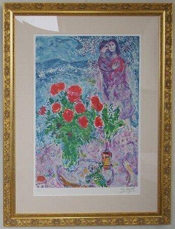 赤いバラと恋人達/マルク・シャガール  (リトグラフ版画)