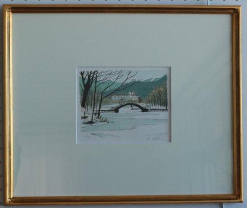 湖水薄明かり/中山爾郎  (リトグラフ版画)