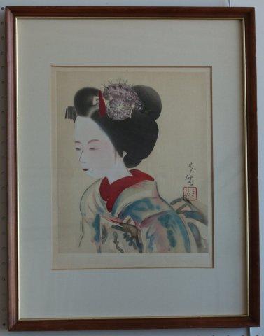 舞妓/土田麦僊(木版画)