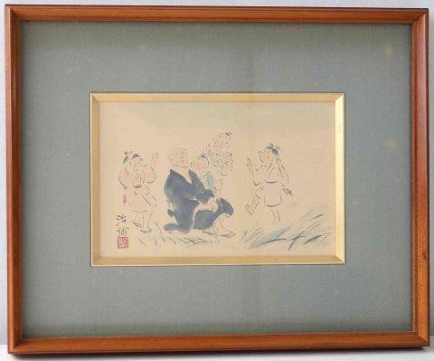 良寛さまと子供 /景岡治弥(日本画)