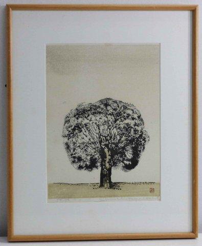樹/高橋信一(木版画)
