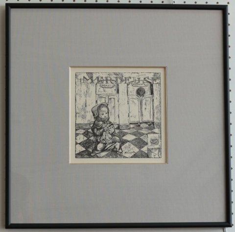 トイレ番〜小さな職人/藤田嗣治 (復刻木版画)