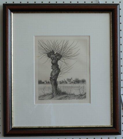 ニレの老樹/長谷川潔(モノクロ銅版画)