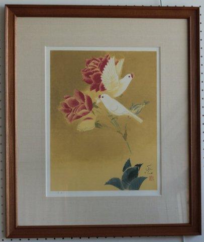 花と鳥/岩田正巳(リトグラフ版画)