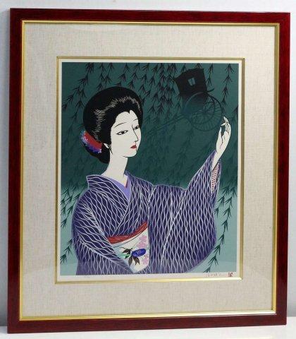 柳の女〜銀座の女より/宮田雅之 (シルクスクリーン版画)