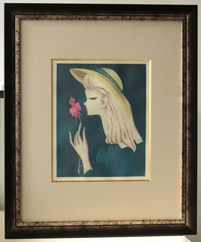 バラを持つ少女/東郷青児(銅版画)