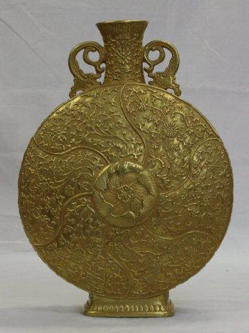 中国陶磁器 「大明乾隆年製印金彩扁壷」